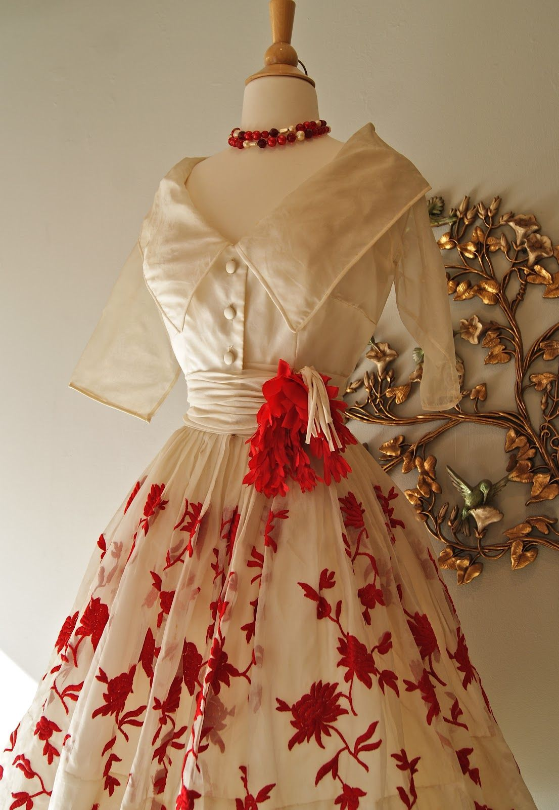 Us embroidered red flowers on offwhite silk organza dress by
