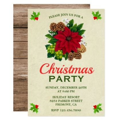 Vintage Holiday Poinsettia Christmas Party Invite Floral