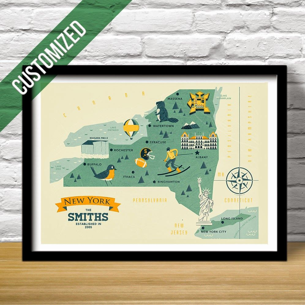 New york map the empire state map home state map nursery decor new york map gift for baby shower or wedding negle Choice Image