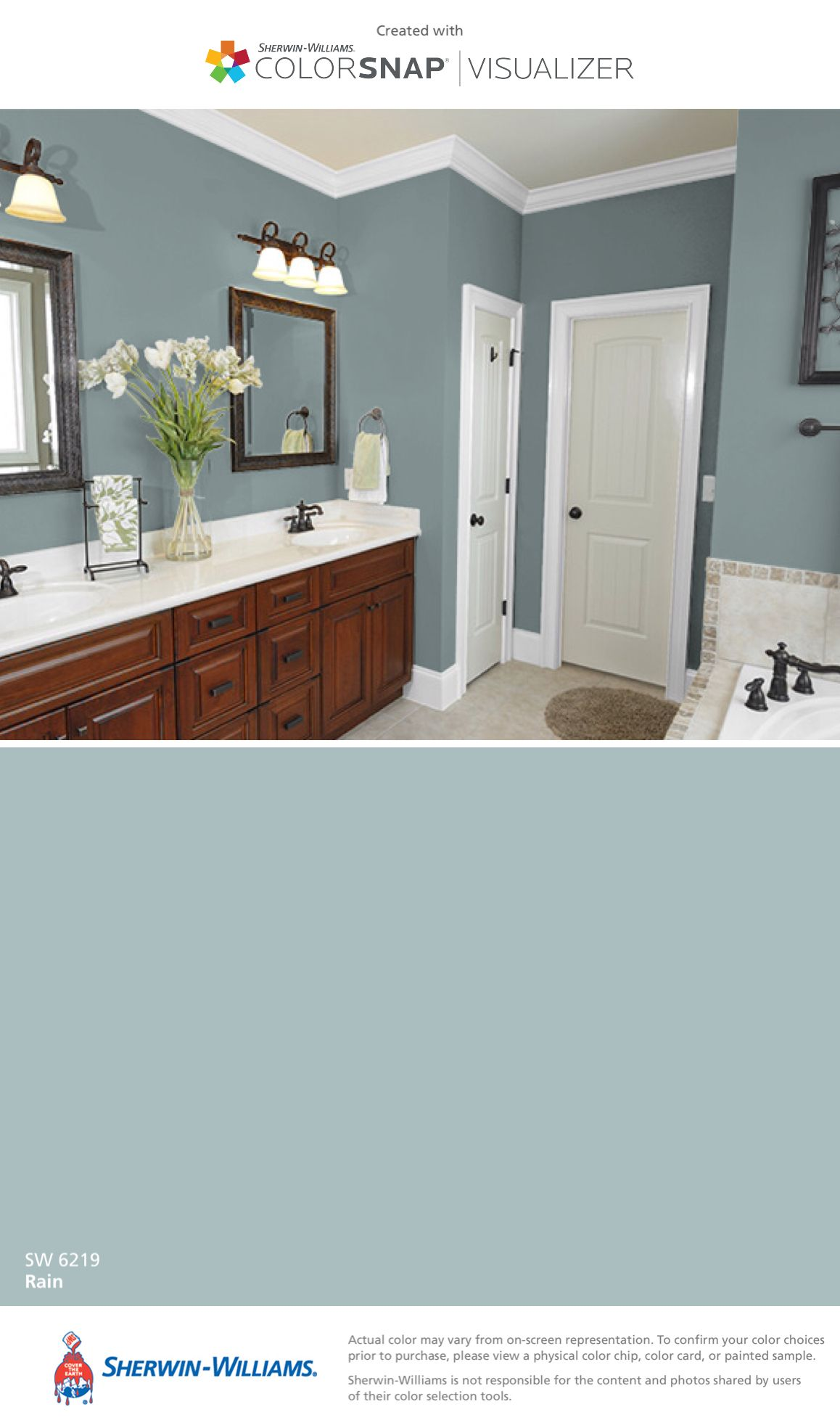 I Found This Color With Colorsnap Visualizer For Iphone By Sherwin Williams Rain Sw 6219 Bathroom Colors Bathroom Paint Colors Paint Colors For Home