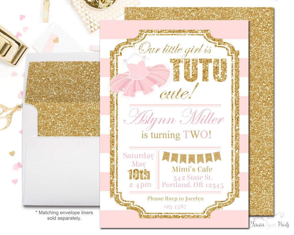 Tutu Birthday Party Invitations, Girls Birthday Party Invitations ...