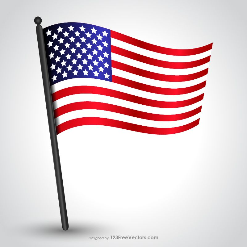 Waving American Flag on Pole Vector | USA Flags | Flag