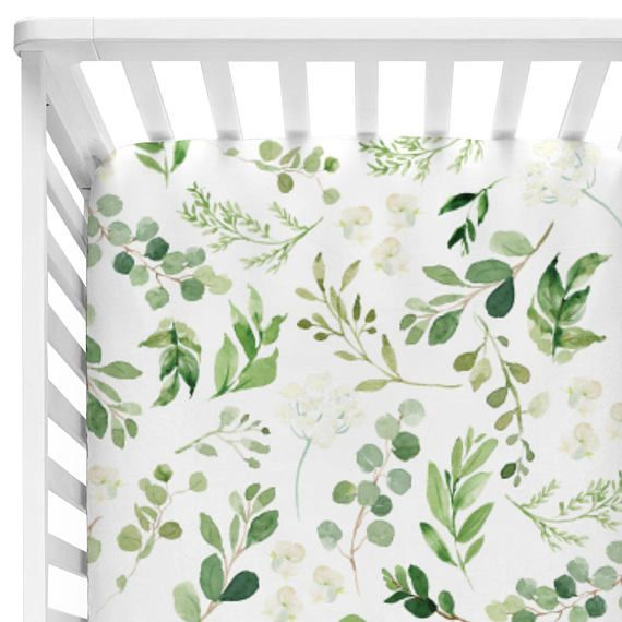 Leafy Green Crib Sheet Is Perfect For A Sophisticated Gender Neutral Or Boho Chic Neutral The Sheet Can Go Wel Crib Bedding Neutral Nursery Crib Nursery Style
