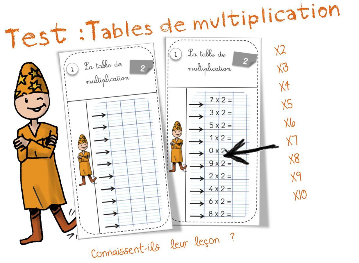 Tests tables de multiplication bout de gomme maths - Tableau de table de multiplication ...