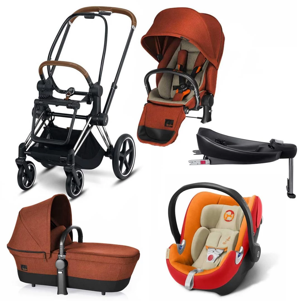 The stylish Autumn Gold Cybex Priam in one complete
