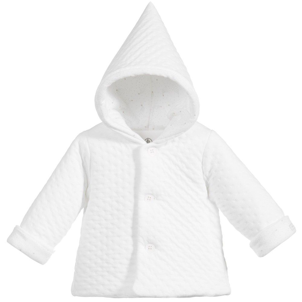 White quilted baby pram coat by Petit Bateau. Made in thick ...