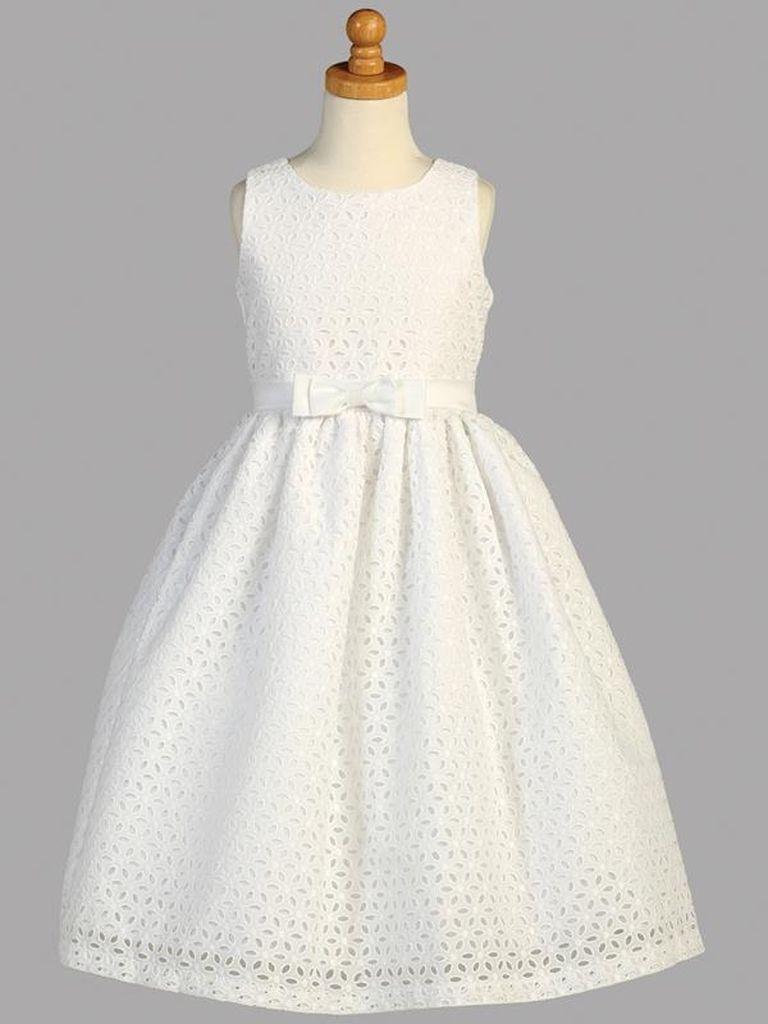 robes de communion pour fille de couleur blanche en coton