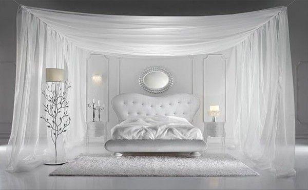 italiaanse slaapkamer ontwerp met witte klamboes en | Boudoir ...