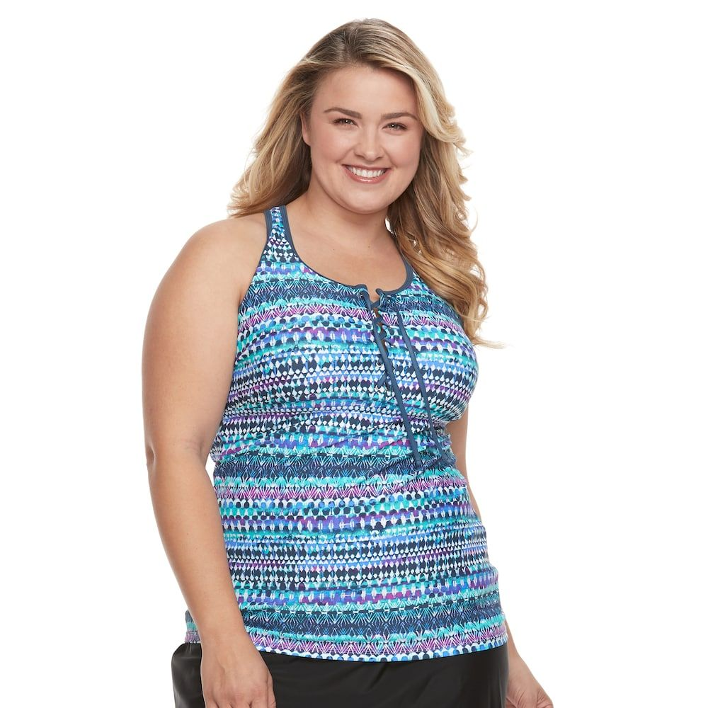 Plus Size Free Country Strappy Lace Up Tankini Top