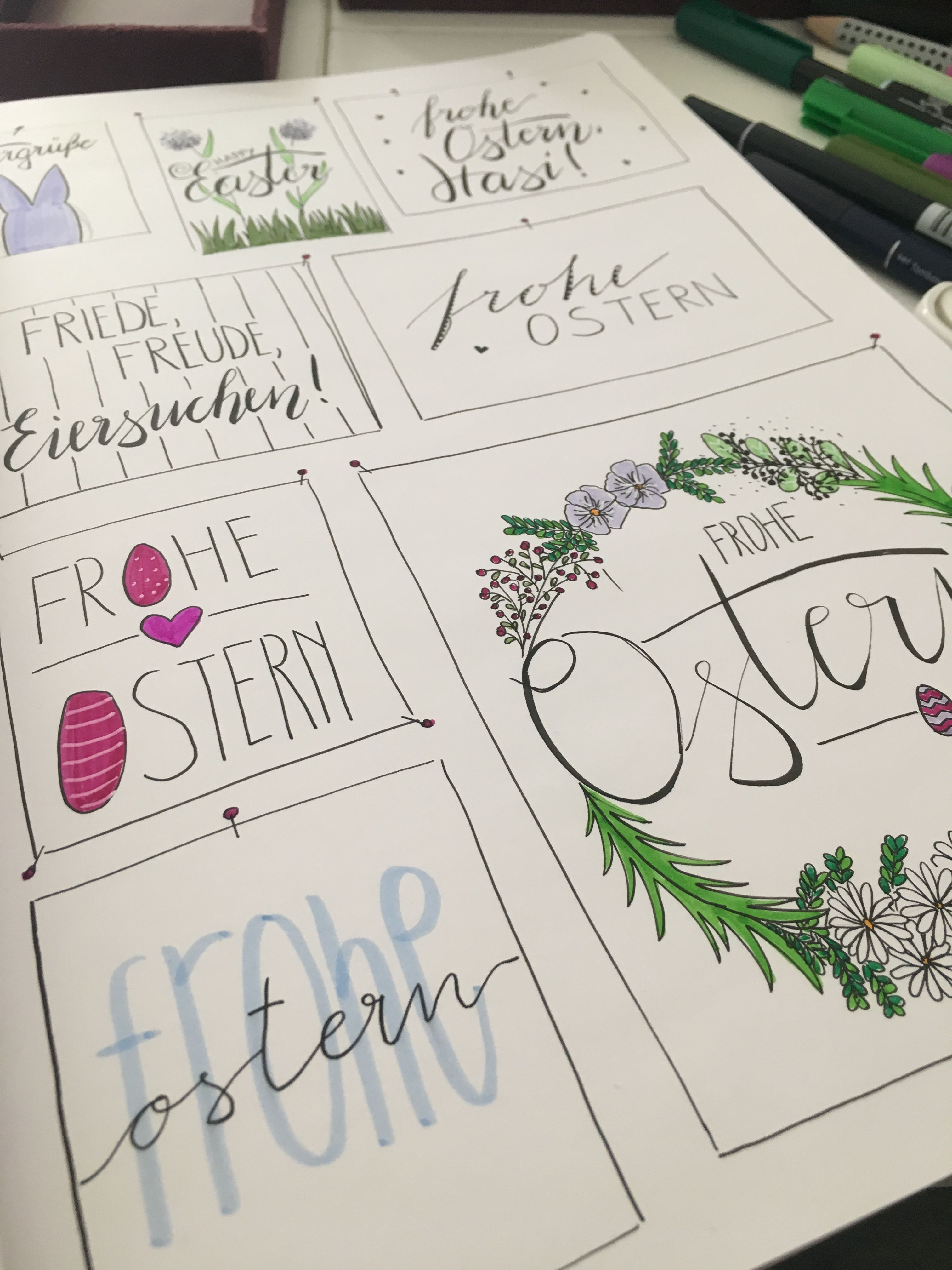 handlettering froheostern ostermix ostern frohe hasen ...