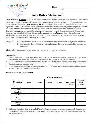 Cladogram worksheet answers indiana edu 4844531 - virtualdir.info