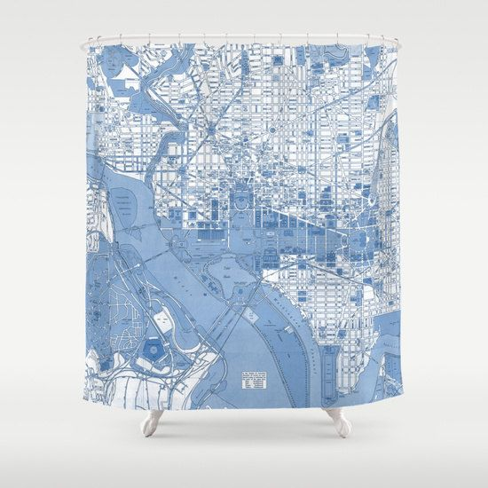 Washington DC Vintage map shower curtain - Street map of the Capitol ...
