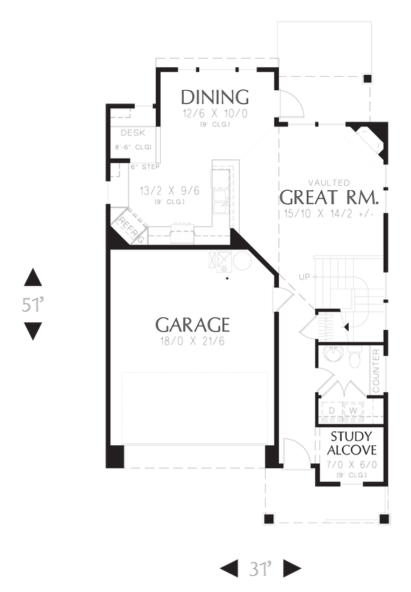 Main Floor Plan of Mascord Plan 21126AC - The Honeydale - Traditional Plan for narrower lots, four bedrooms!