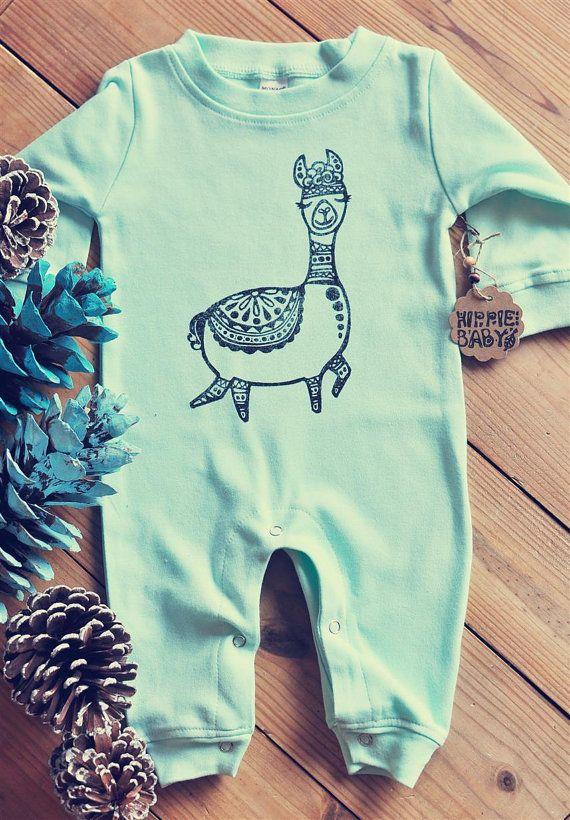 5f1d25c92489c Alpaca romper, Llama baby outfit, Hippie baby, Winter baby, Baby ...