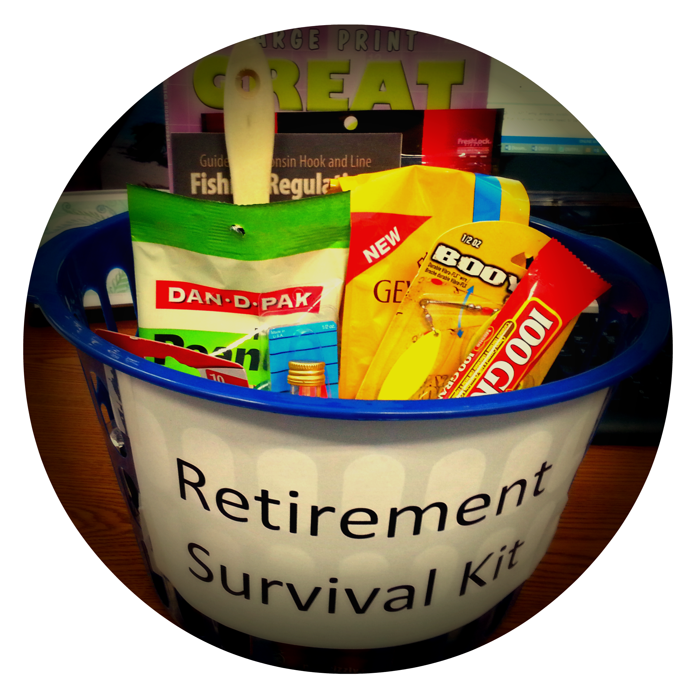 Retirement Survival Kit for a man - paint brush, duct tape, fishing lures, fishing regulations book, crossword puzzle book (large print), dice, playing cards, 100 Grand candy bar, beef jerky, mini alcohol bottles, peanuts, coffee, fruit (I made this for a co-worker retiring today.)