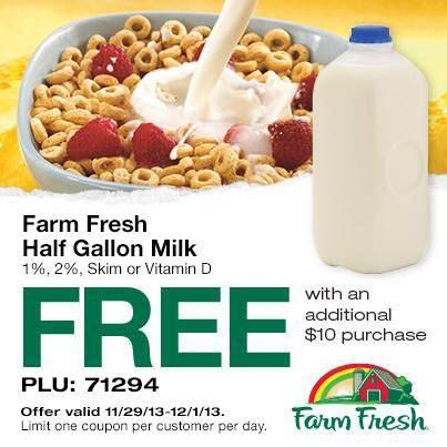Farm Fresh Supermarket's: FREE 1/2 Gallon of Milk w/$10 Purchase Coupon!
