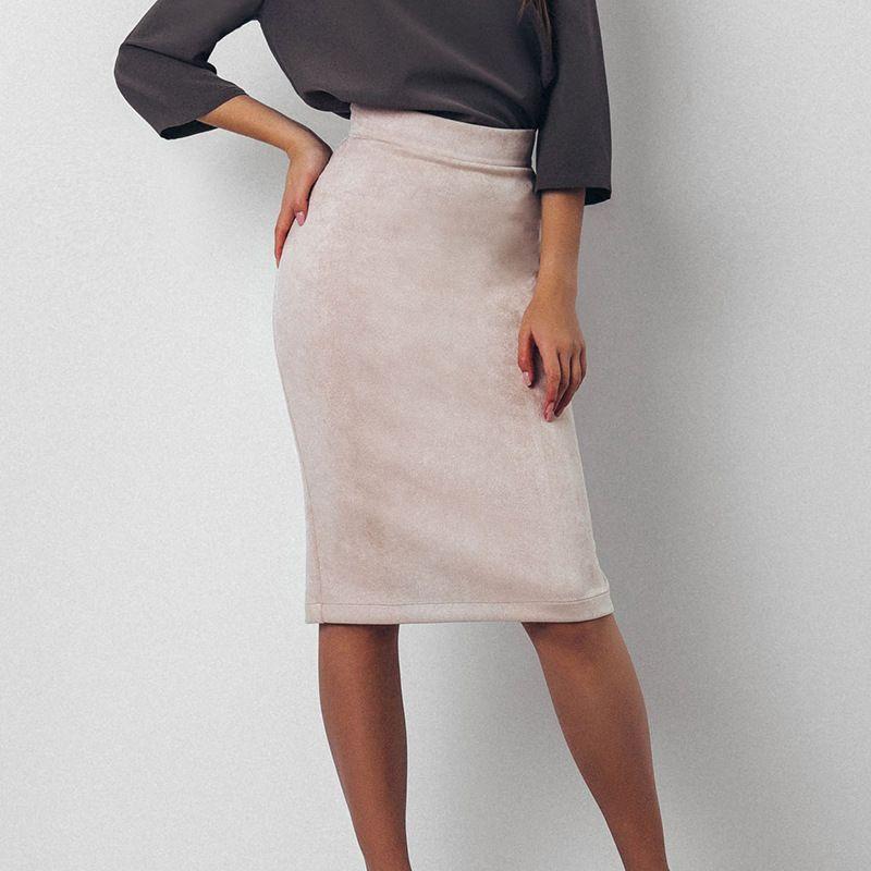 2cbb6a49b8b Высокая Талия Юбки-карандаши Для женщин зима-осень 2018 Новая мода Тонкий облегающая  юбка Для женщин Повседневное замшевая юбка черный