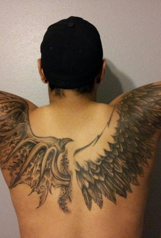 Angel Wings Extending Onto The Arms Ignore The Style On The Left