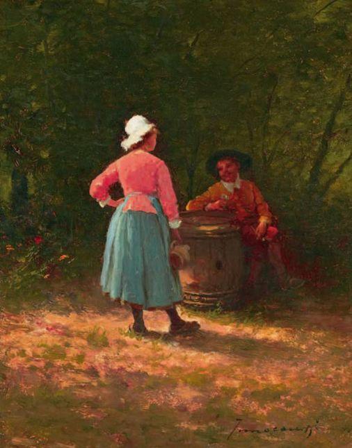 Escena en el jardín - Ferenc Innocent (1859-1934)