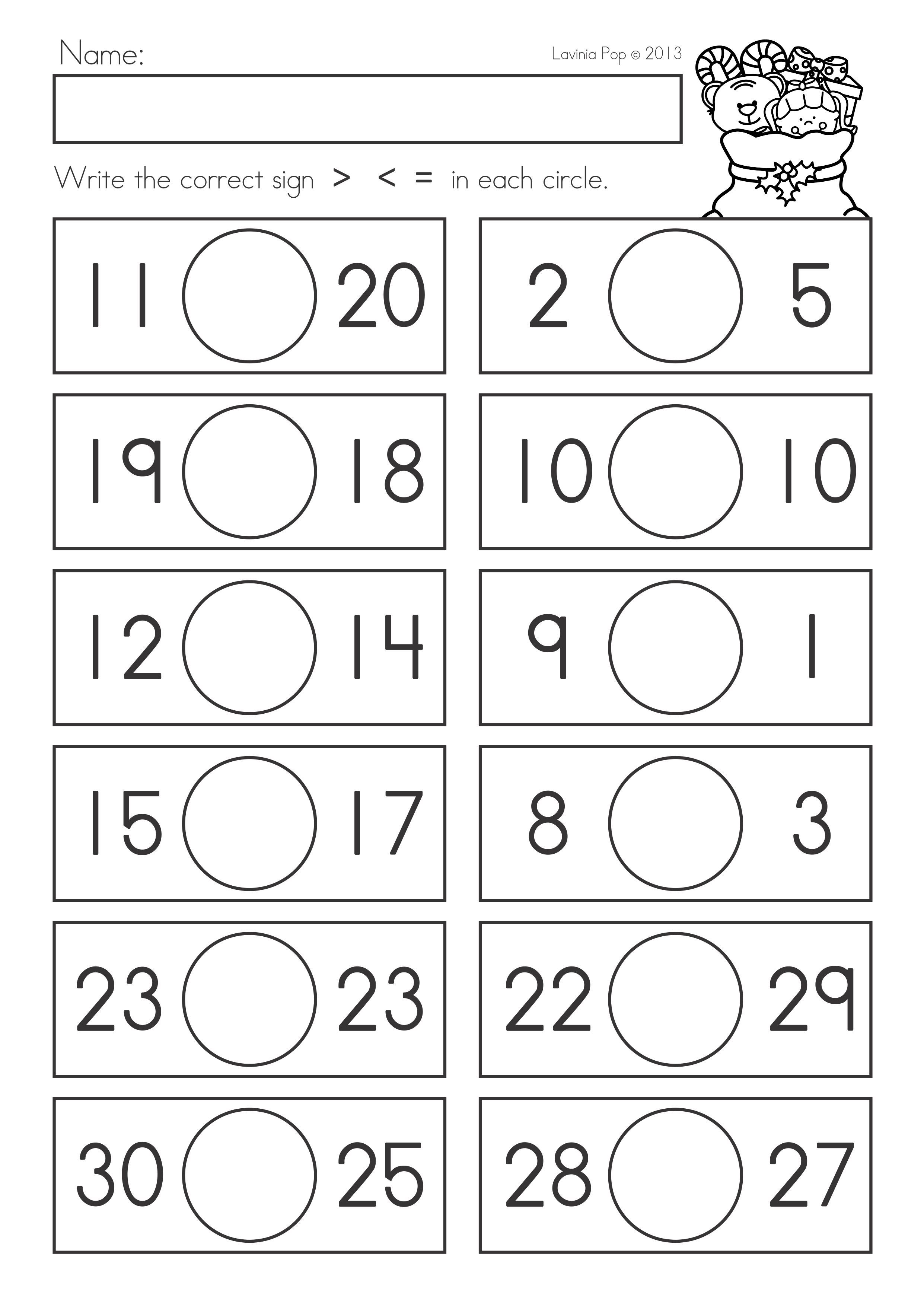 Free Comparing Numbers Worksheets Pictures Math Free Preschool
