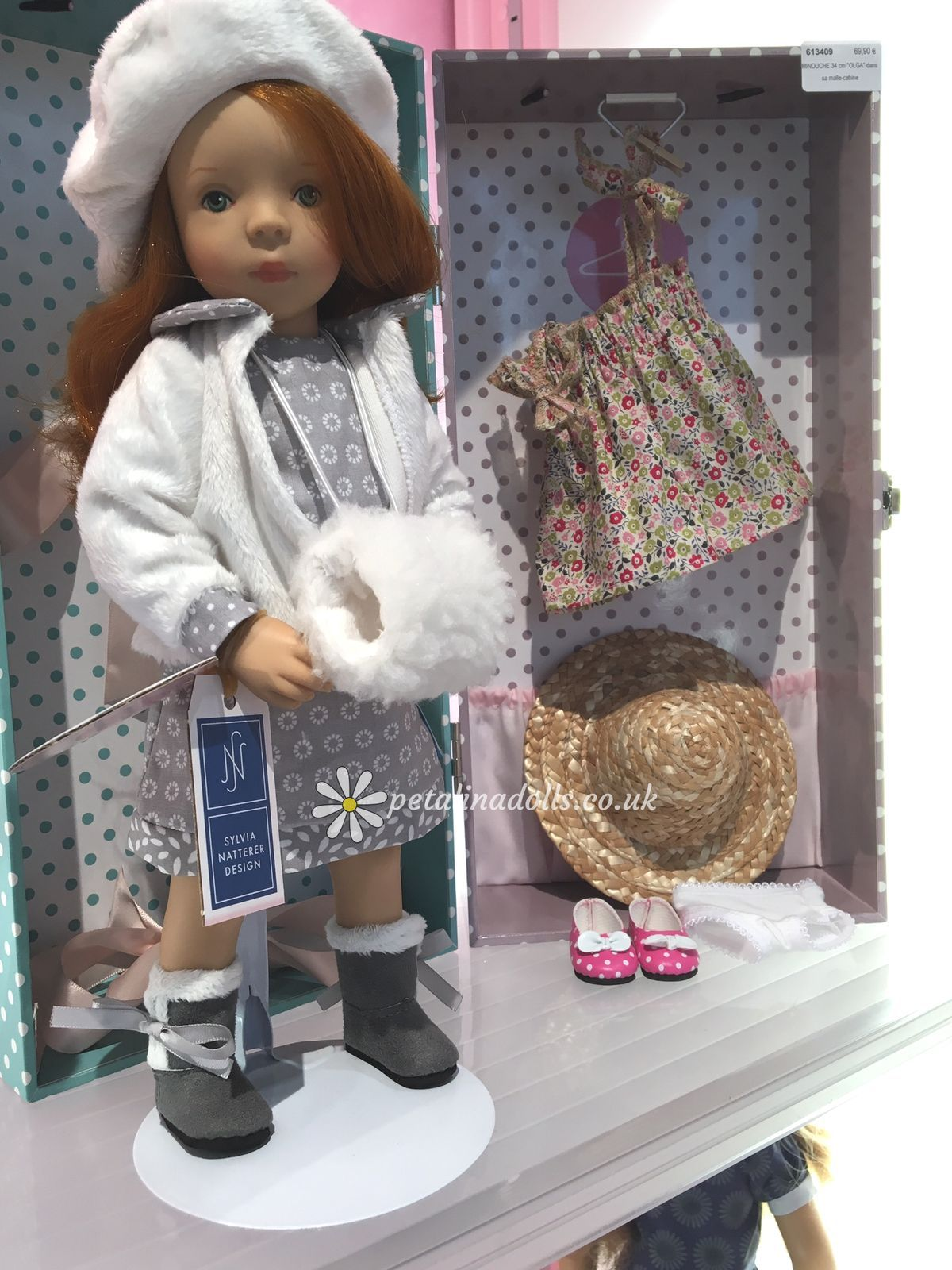 Minouche Olga, a very special doll for 2016 by Sylvia Natterer for Petitcollin. The traditional Petitcollin trunks make wonderful gifts.