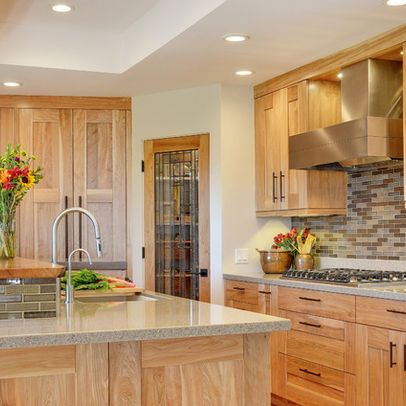 Shaker Hickory Cabinets Design Ideas gray back splash and counters