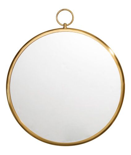 Gold Colored Large Round Mirror With A Metal Frame Loop At Back For Hanging Screws Not Included Diameter Of Mirror 17 3 H M Home H M Online Round Mirrors
