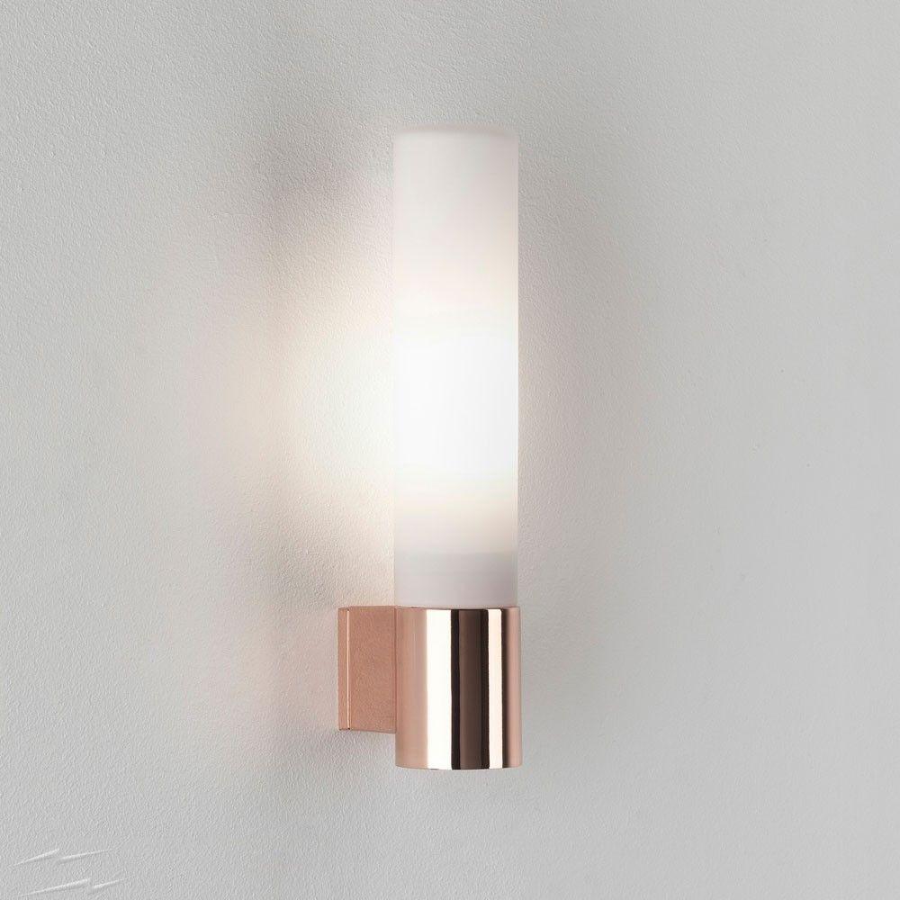 Ax8058 Bari Polished Copper Bathroom Wall Light With White Opal Tube Diffuser Ip44 G9 40w Astro 1047009 Copper Wall Light Bathroom Wall Lights Wall Lights
