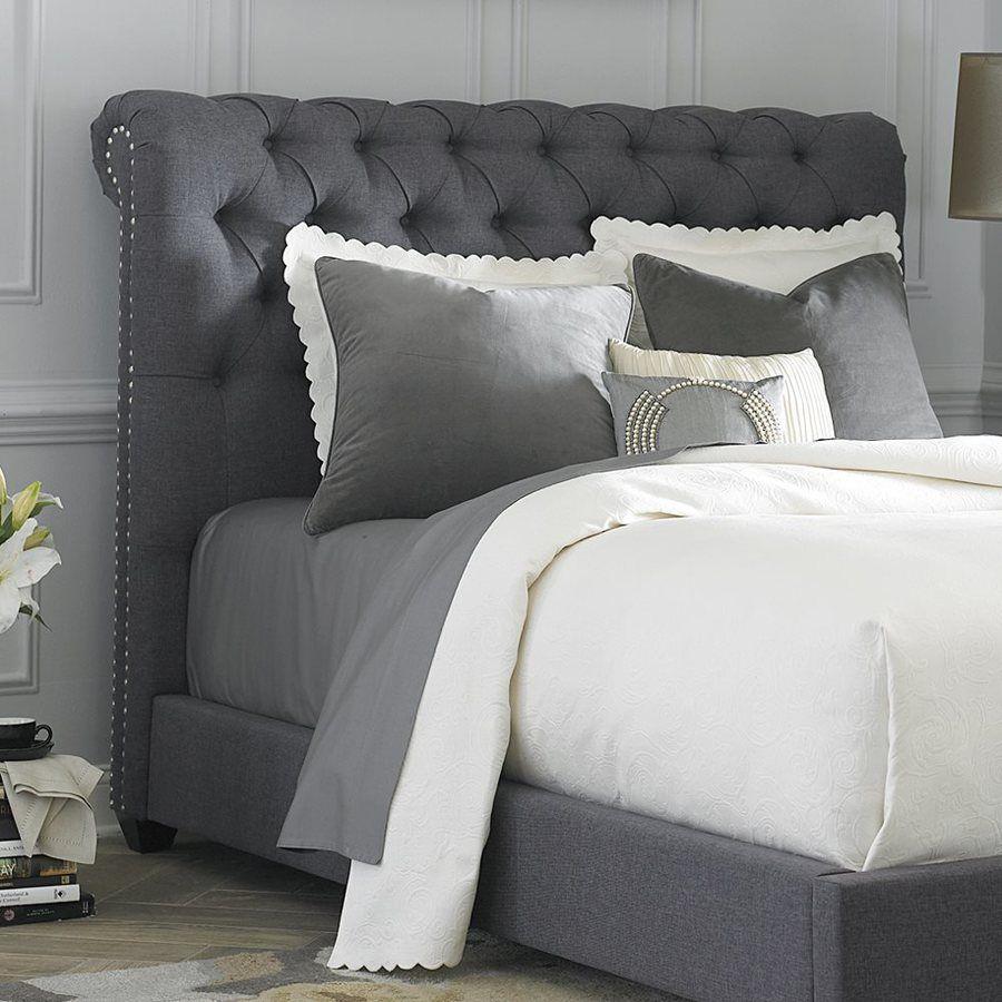 Liberty Furniture Chesterfield Dark Gray King Linen Upholstered Headboard Gray Upholstered Headboard Cheap Bedroom Furniture Grey Headboard Bedroom