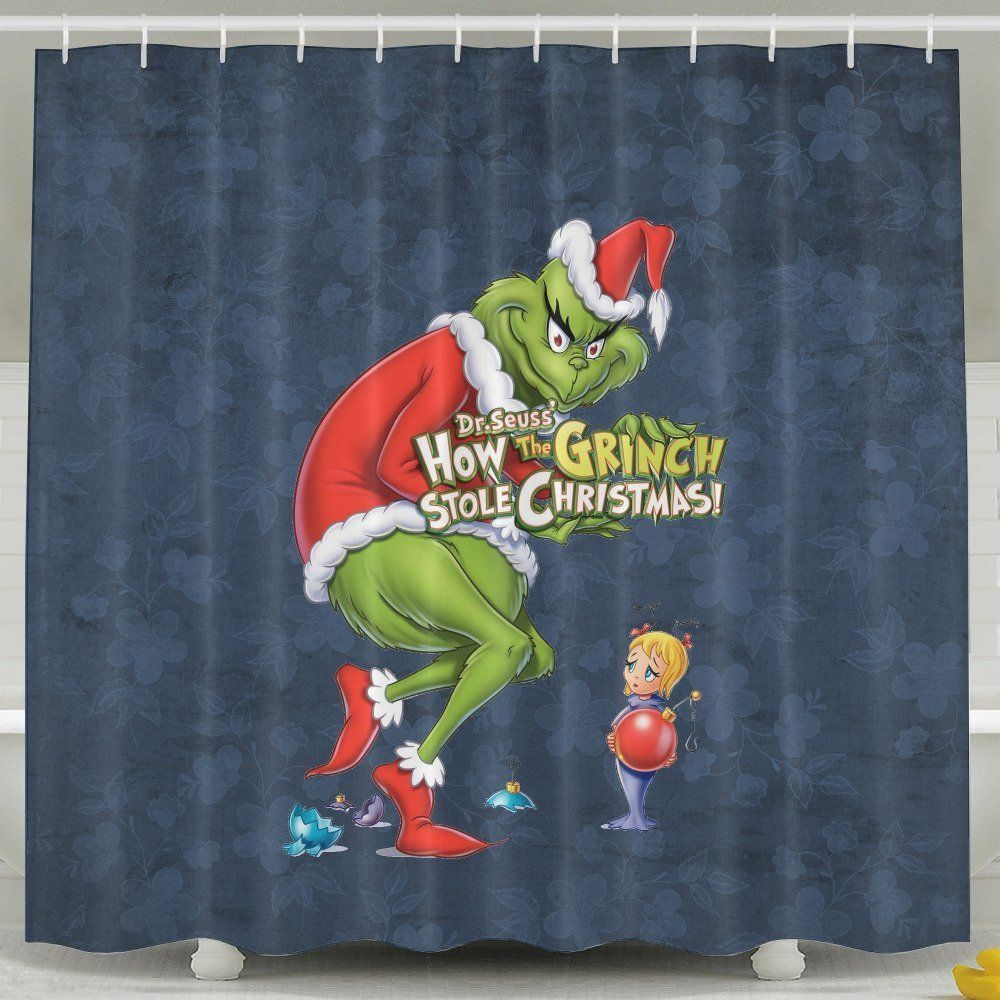 Amazon Com Merry Christmas The Grinch Polyester Waterproof Shower Curtain White 7278inch Bedding Bath White Shower Curtain Grinch Decorations Grinch