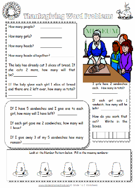 Gr 1 Thanksgiving Worksheet - Numbers and Counting, Simple ...