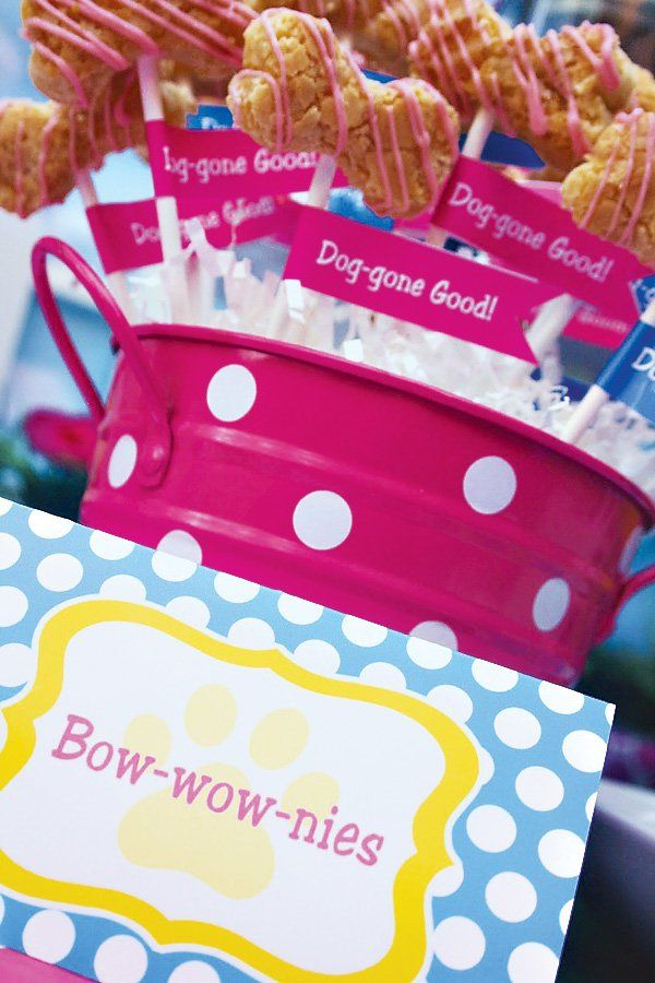 Playful Doggy Party Ideas With Dog Bone Bowls Cute Puppy Face Cake Pops House Sugar Cookies And An Adopt A Scavenger Hunt