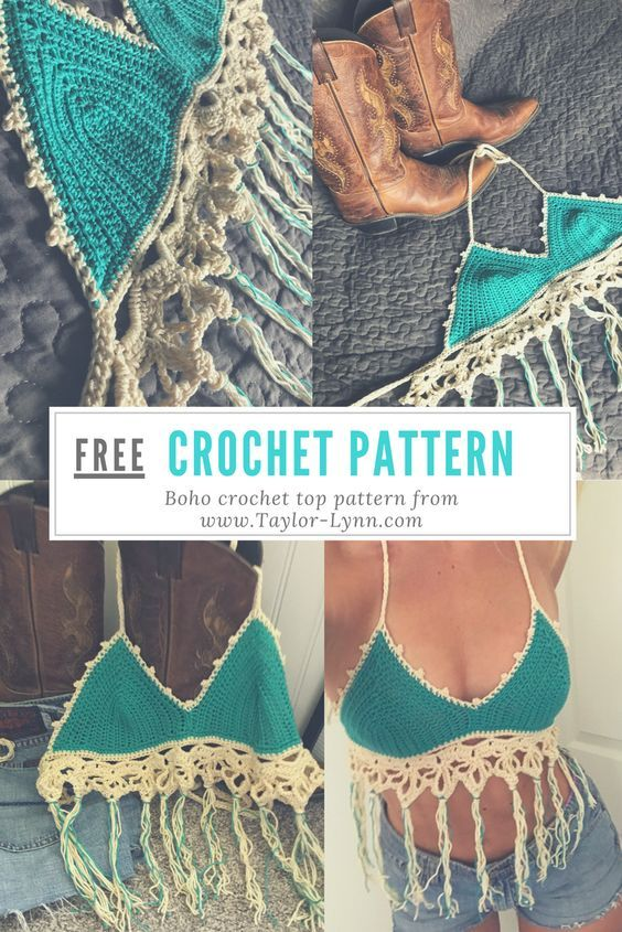 Free Crochet Pattern For A Boho Crochet Top The Fringe And Lace