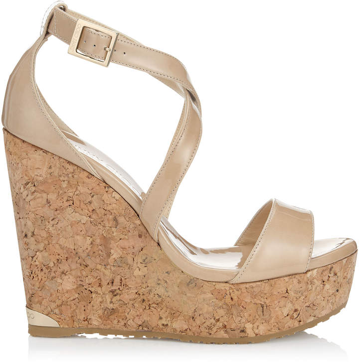 2383502ff4a Jimmy Choo PORTIA 120 Nude Patent Leather Cork Wedges