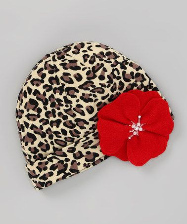 Take a look at this Cheetah Beanie & Red Flower Clip by Chicaboo on #zulily today!