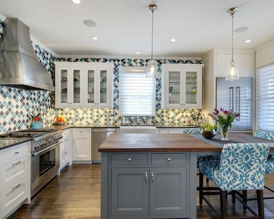 Counter To Ceiling Tile Backsplash In The Kitchen Blue Navy And White Diamond Tiles