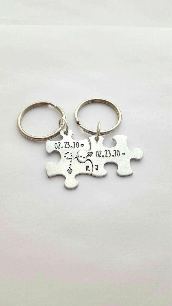 10 year anniversary gift anniversary puzzle piece keychains