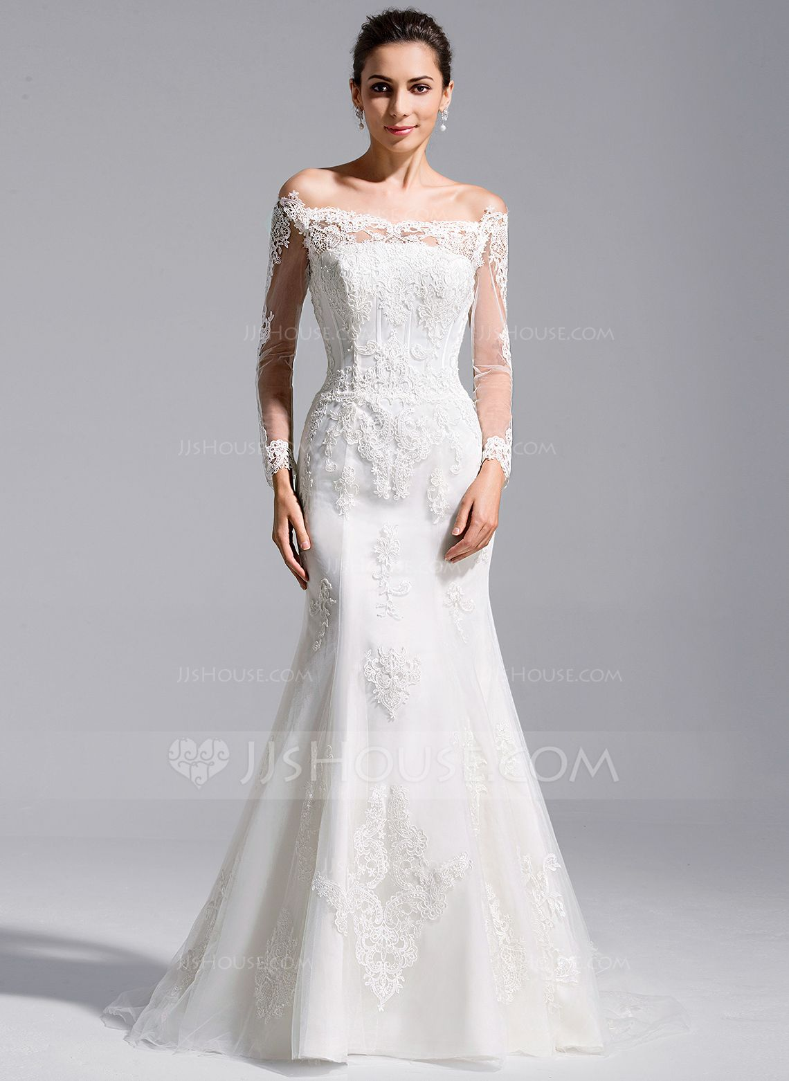 Mermaid lace wedding dress  TrumpetMermaid OfftheShoulder Cathedral Train Tulle Lace Wedding