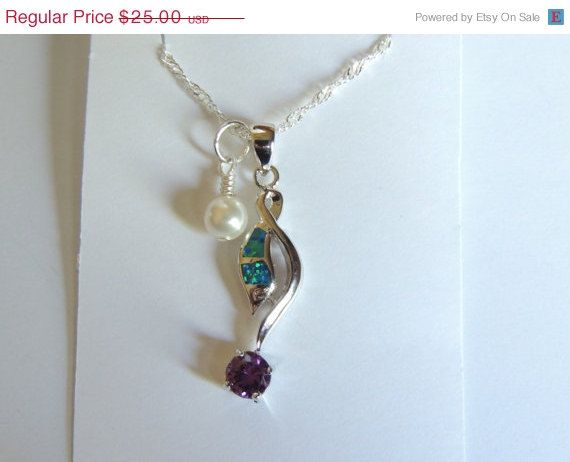 Opal/Amethyst Necklace Opal Necklace Amethyst by AlwaysCrafty77, $20.00