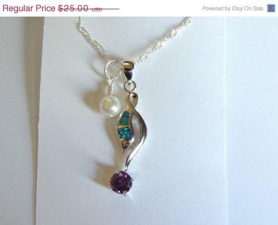 Opal/Amethyst Necklace Opal Necklace Amethyst by AlwaysCrafty77, $20.00