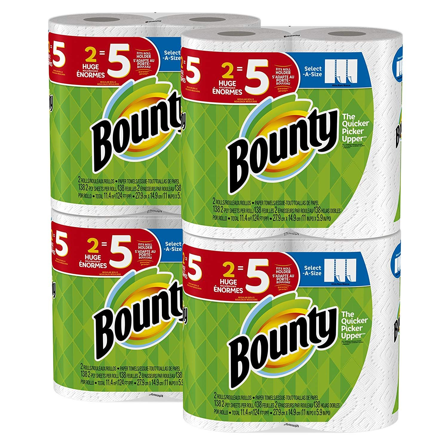 Bounty SelectaSize Paper Towels, White, Huge Roll, 8