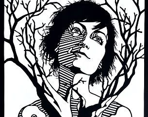 Artist website for Heather Clements of Panama City, FL. Page of cut paper artwork combining humans and other nature.