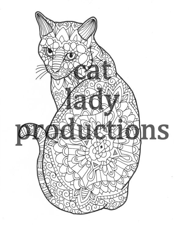 Hand drawn cat coloring pages, cat coloring book, coloring