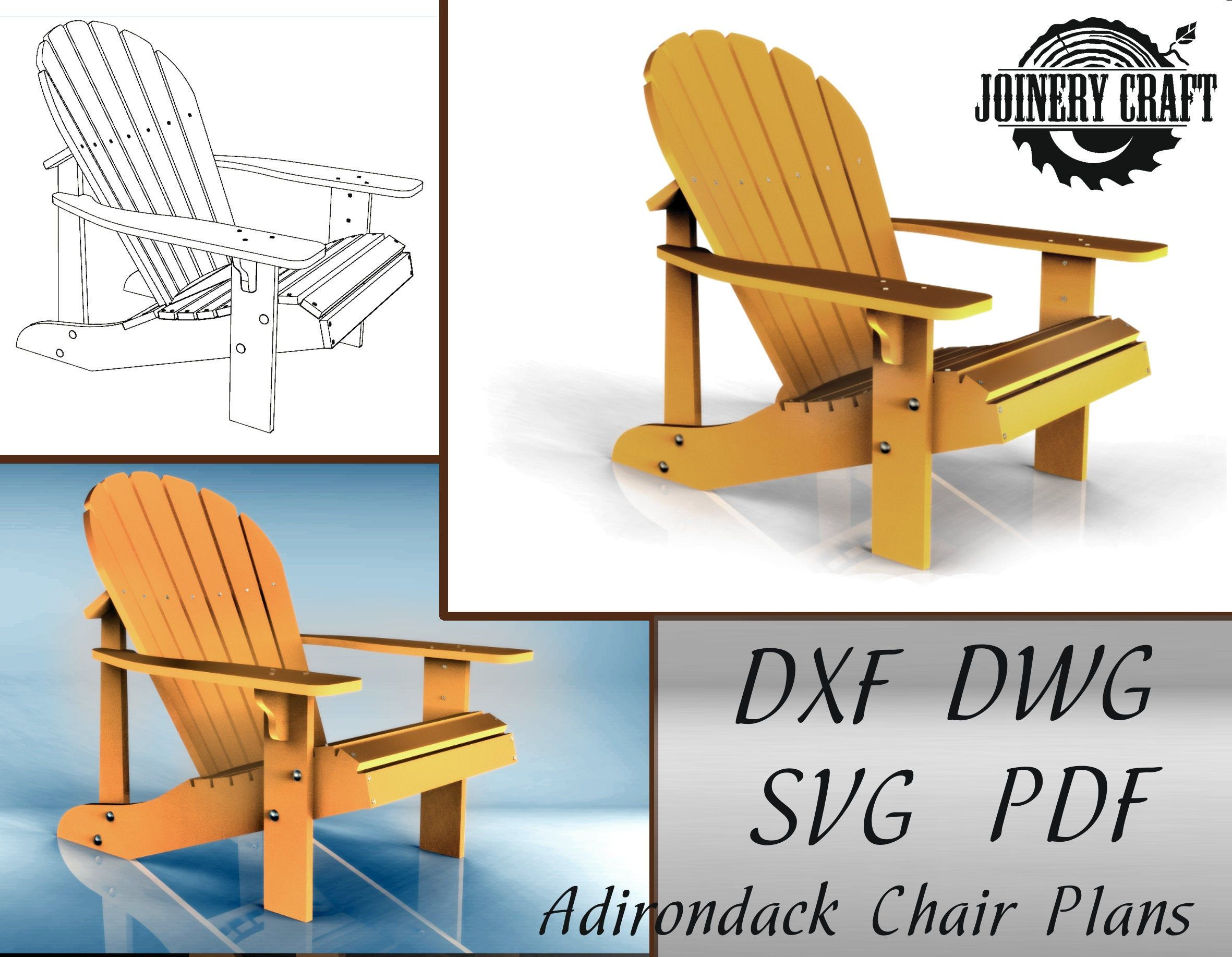 DIY Adirondack Chair Plans PDF format file SVG Dwg Dxf