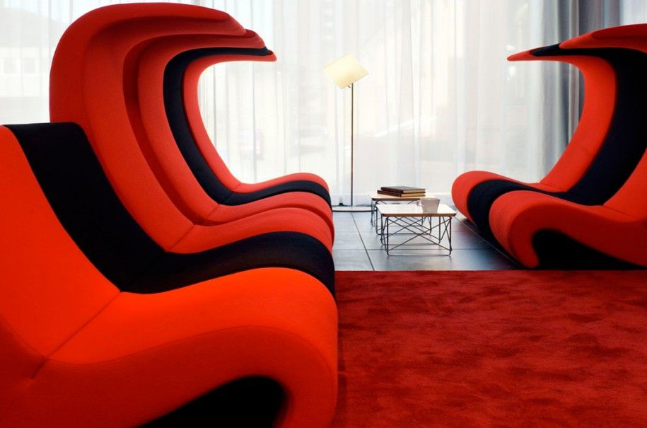 Red Sofa In Public Space   Google Search