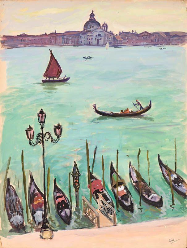Gondoles A Quai Venise Gustave Lino 1893 1961 Venise