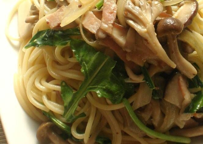 Mustard Arugula and Mushroom Pasta Recipe -  Yummy this dish is very delicous. Let's make Mustard Arugula and Mushroom Pasta in your home!