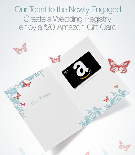 FREE 20 Amazon Gift Card w/ Wedding Registry Sign Up