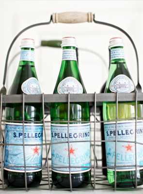 s. pellegrino... Wouldn't this be a lovely hostess gift for a cocktail party? Pellegrino in a carry-all