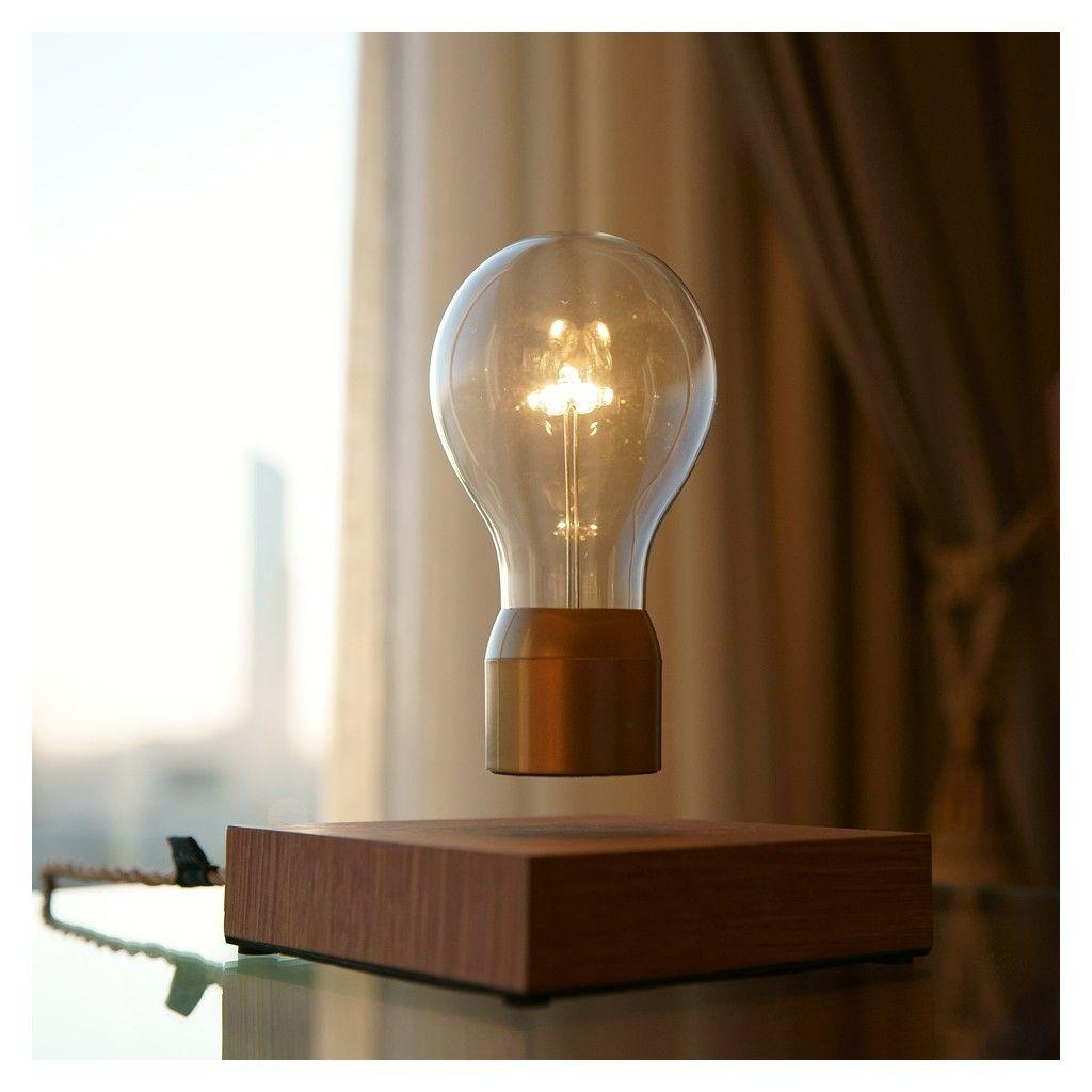 Flyte Levitating Light Bulb Oak Gold Lamp Led Table Lamp Light Bulb